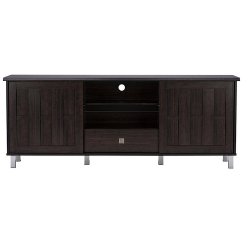 "Unna 70"" Dark Brown Wood TV Cabinet with 2-Sliding Door and Drawer"