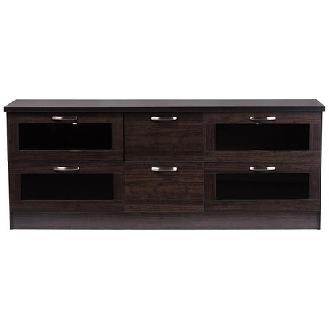 Adelino 63 inches Dark Brown Wood TV Cabinet with 4-Glass Door and 2-Drawer