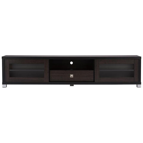 "Beasley 70"" Dark Brown TV Cabinet with 2-Sliding Door and Drawer"