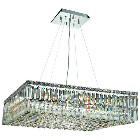 Maxime 32-Inch 12-Light Chrome Chandelier with Clear Crystal