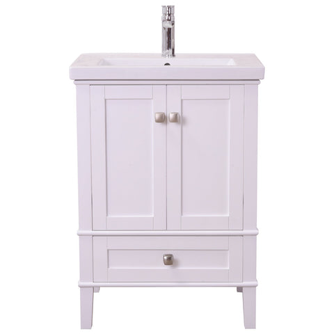 Aqua 24-Inch Single Bathroom Vanity Set in White