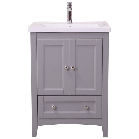 Saturn 24-Inch Single Bathroom Vanity Set in Medium Grey