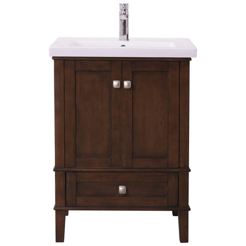 Aqua 24-Inch Single Bathroom Vanity Set in Antique Coffee