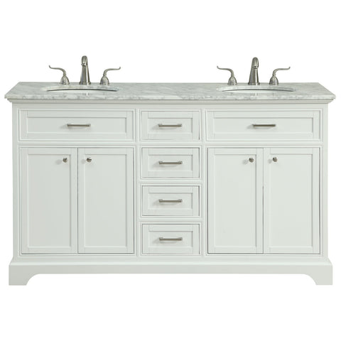 Americana 60-Inch Double Bathroom Vanity Set in White