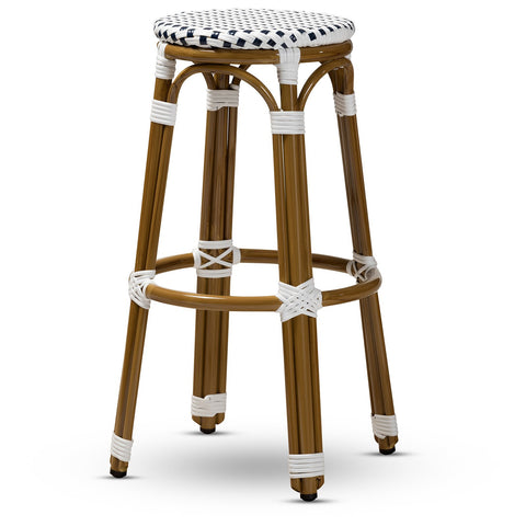Baxton Studio Joelle French Navy White Bamboo Stackable Bistro Bar Stool