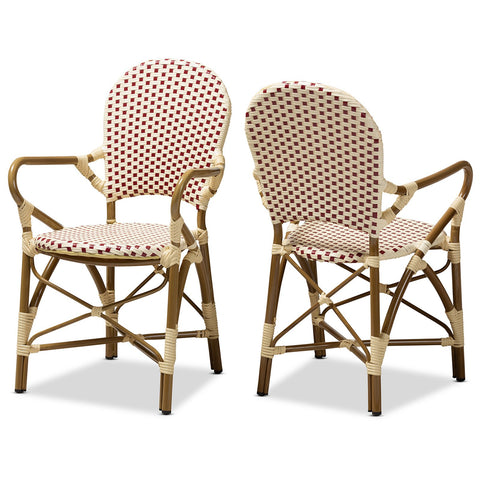 Baxton Studio Seva Bamboo Stackable Bistro Dining Chair Set of 2