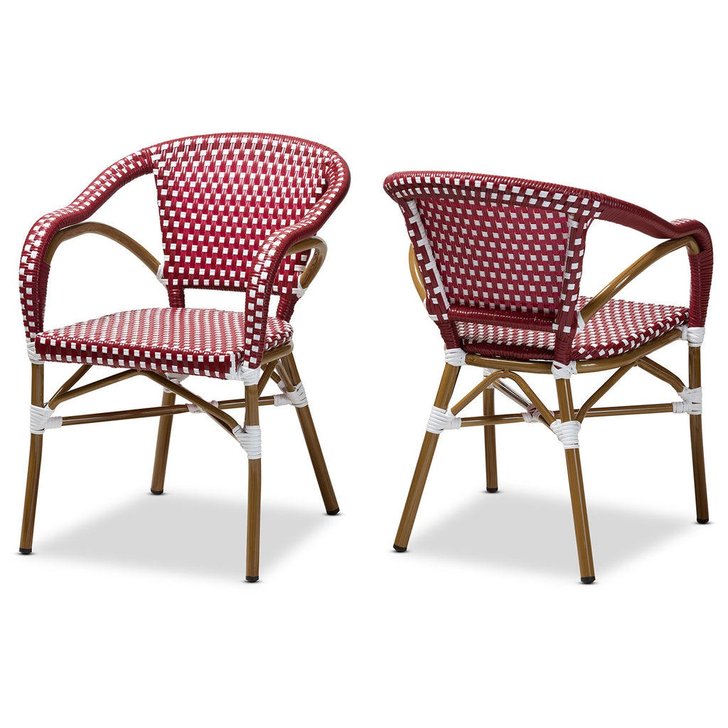 Baxton Studio Eliane Bamboo Stackable Bistro Dining Chair Set of 2