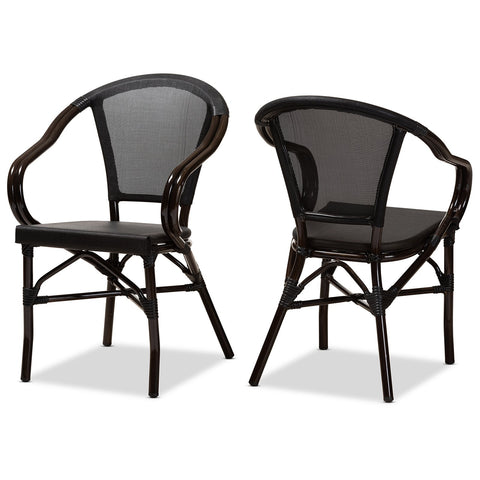 Baxton Studio Artus French Bamboo Stackable Bistro Dining Chair Set of 2