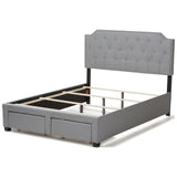 Baxton Studio Aubrianne Grey Fabric Upholstered Storage Bed