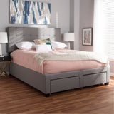 Baxton Studio Tibault Grey Fabric Upholstered Size Storage Bed