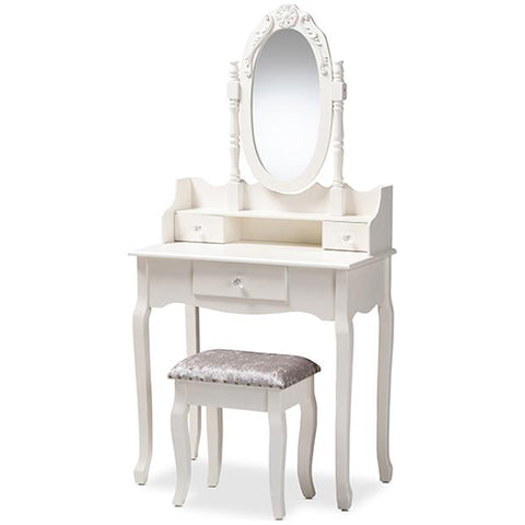 Baxton Studio Veronique Provincial 2-Piece Vanity Table with Mirror and Ottoman