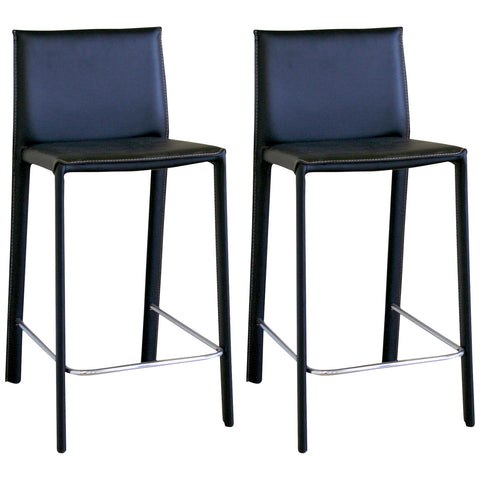 Baxton Studio Crawford Black Leather Counter Height Stool, Set of 2