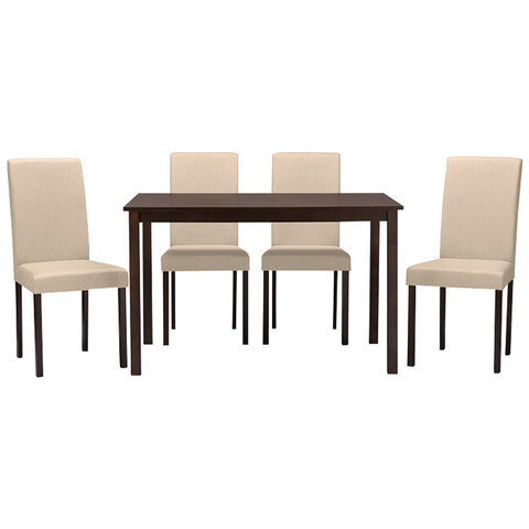 Baxton Studio Andrew Contemporary Espresso Wood Fabric 5-Piece Dining Set