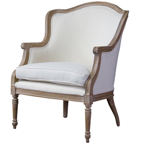 Baxton Studio Charlemagne Oak Traditional French Accent Chair
