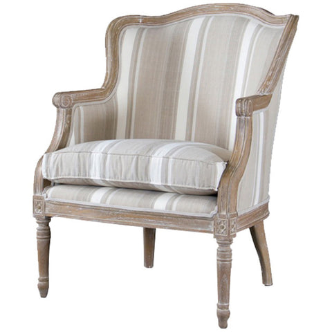 Baxton Studio Charlemagne Brown Stripe Oak Traditional French Accent Chair