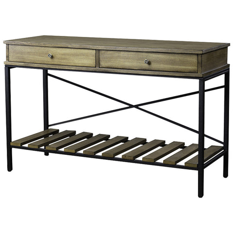 Baxton Studio Newcastle Criss-Cross Wood and Metal Console Table
