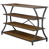 Baxton Studio Lancashire Brown Wood and Metal Console Table