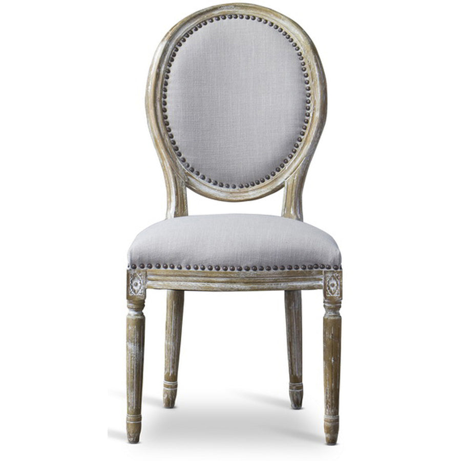 Baxton Studio Clairette Round Wood Traditional French Accent Chair