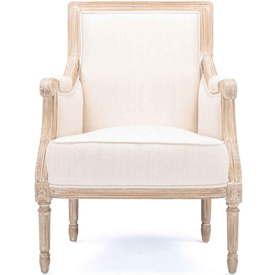 Baxton Studio Chavanon Wood and Light Beige Linen Traditional French Accent Chair