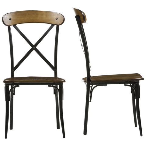 Baxton Studio Broxburn Light Brown Wood and Metal Dining Chair, Set of 2