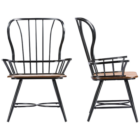 Longford Dark-Walnut Wood and Metal Vintage Dining Arm Chair, Set of 2