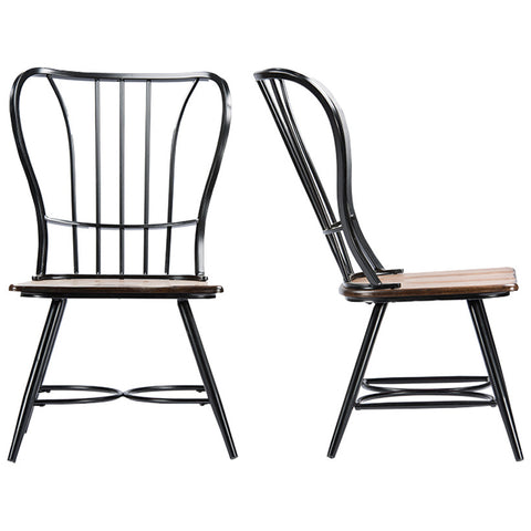 Longford Dark-Walnut Wood and Black Metal Vintage Dining Chair, Set of 2