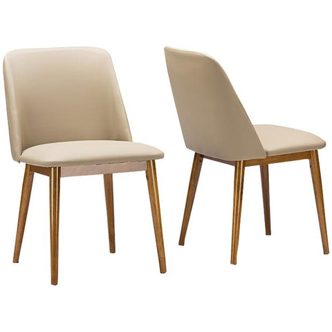 Lavin Mid-Century Walnut Light Brown, Beige Faux Leather Dining Chair, Set of 2