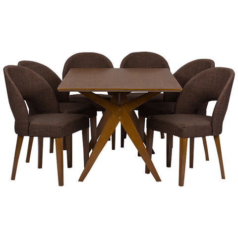 Baxton Studio Sumner Mid-Century Style Walnut Brown 5-Piece Dining Set