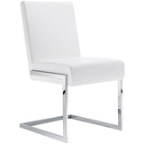 Toulan Modern Faux Leather Upholstered Stainless Steel Dining Chair, Set of 2