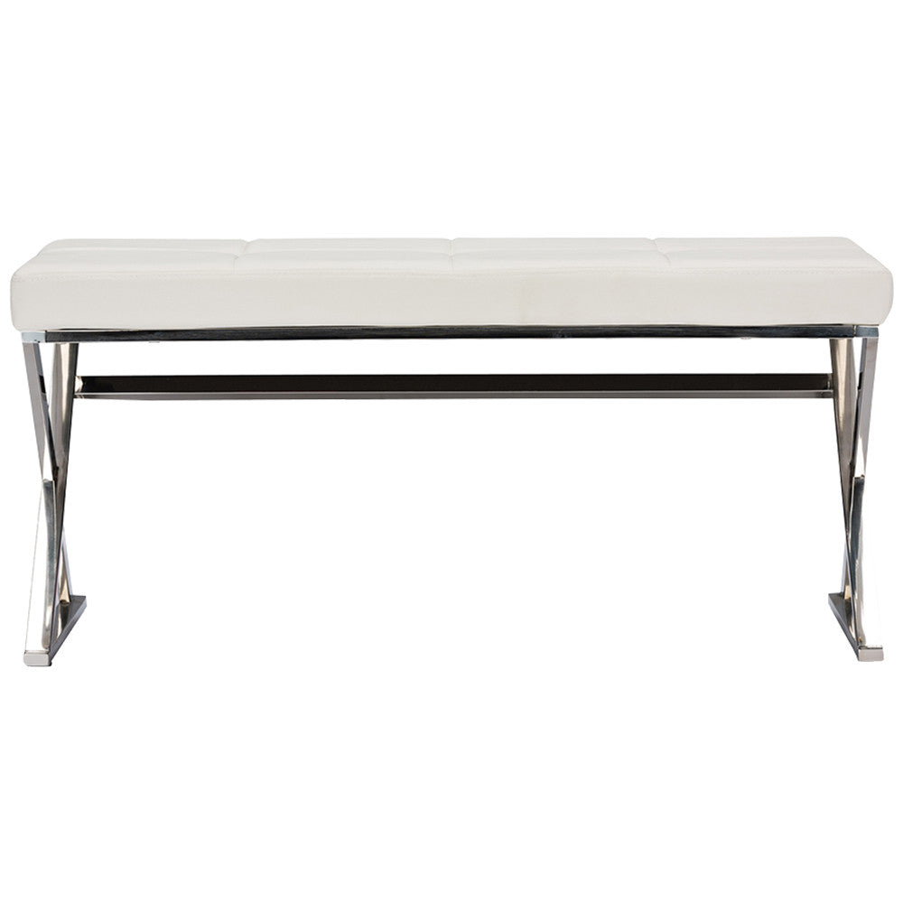 Herald Modern and Stainless Steel Fabric Upholstered Rectangle Bench