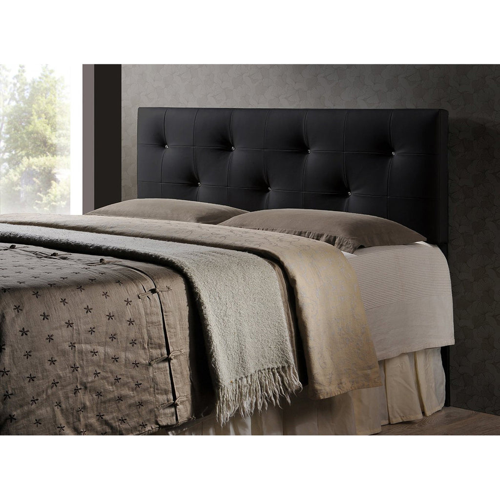 Dalini Modern and Contemporary King Faux Leather Headboard with Faux Crystal Buttons