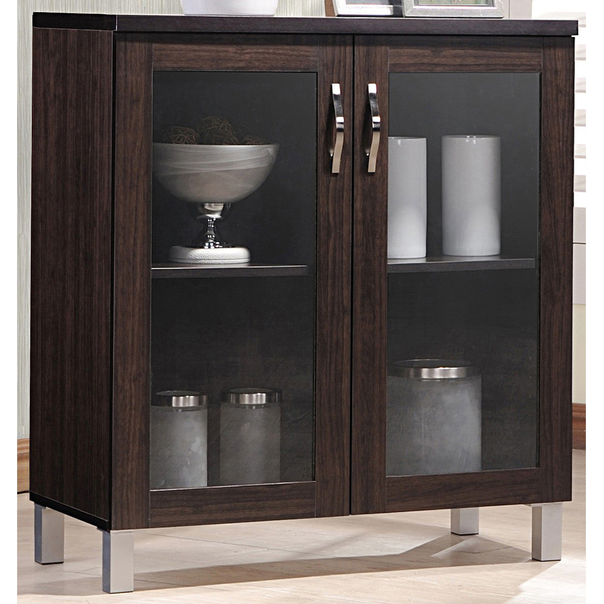 Sintra Modern And Contemporary Dark Brown Sideboard Storage Cabinet With Glass Doors