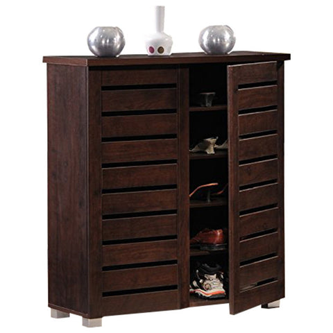 Adalwin 2-Door Dark Brown Wooden Entryway Shoes Storage Cabinet
