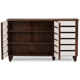 Baxton Studio Gisela Oak and White 2-Tone Shoe Cabinet With 3 Doors