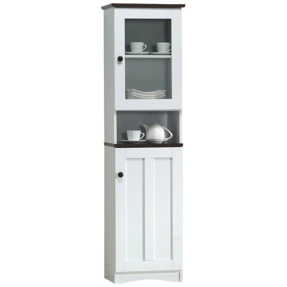 lauren modern and twotone white and dark brown buffet and hutch kitchen cabinet