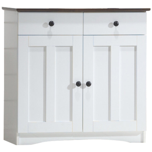 Lauren and Two-tone White and Dark Brown Buffet Kitchen Cabinet with  2-Doors and 2-Drawers