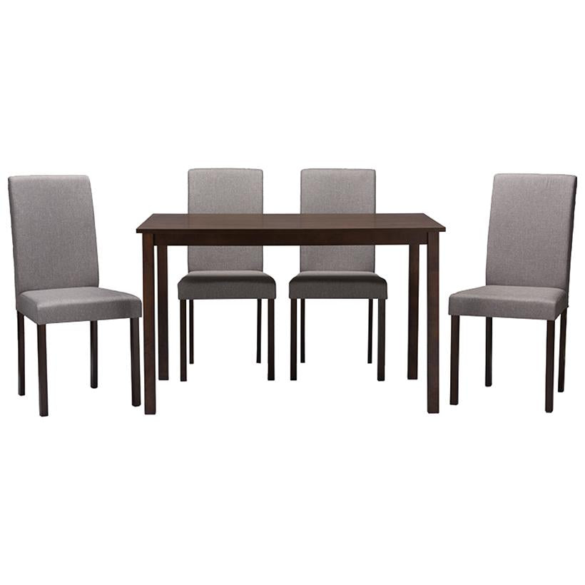 Baxton Studio Andrew Contemporary Espresso Wood Grey Fabric 5PC Dining Set