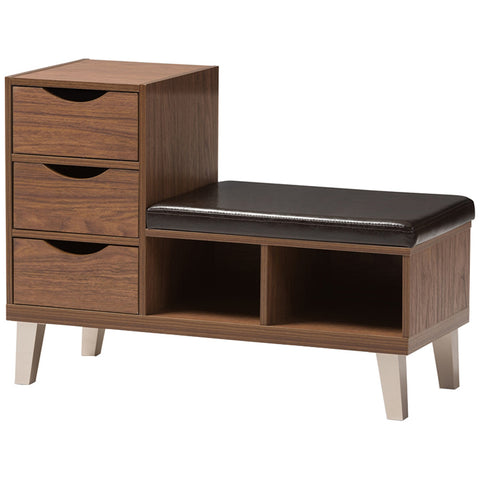Baxton Studio Arielle 3-Drawer Shoe and 2-Shelf Storage Bench in Walnut Brown