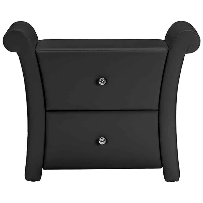 Baxton Studio Victoria Matte Black PU Leather 2 Drawers Nightstand Bedside Table