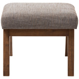 Baxton Studio Aberdeen Ottoman in Walnut Wood and Gravel