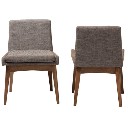 Baxton Studio Nexus Dining Side Chair in Walnut Wood and Gravel, Set of 2
