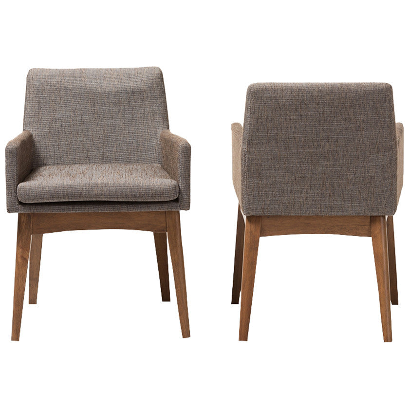 Baxton Studio Nexus Arm Chair in Walnut Wood and Gravel, Set of 2