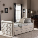 Baxton Studio Swamson Twin Daybed with Roll-out Trundle Guest Bed