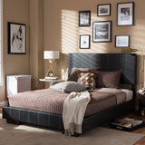 Baxton Studio Atlas Black Faux Leather Full Platform Bed