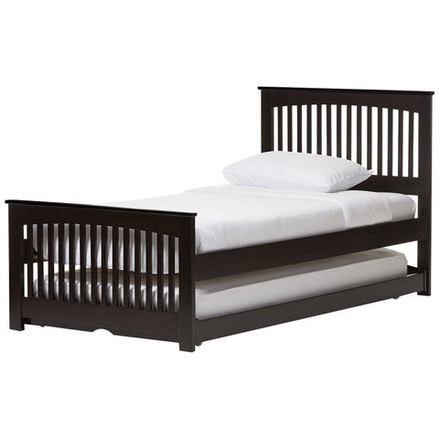 Baxton Studio Hevea Dark Brown Twin Platform Bed with Guest Trundle Bed