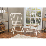 "Baxton Studio Longford ""Dark-Walnut"" Wood and White Metal Dining Chair, Set of 2"