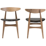 Baxton Studio Edna French Black and Oak Light Brown Dining Chair, Set of 2