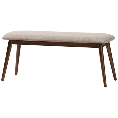 Baxton Studio Flora Light Grey and Oak Medium Brown Dining Bench