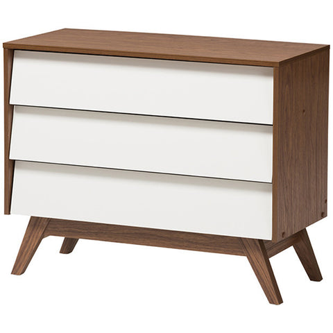 Hildon Mid-Century Modern 3-Drawer White and Walnut Storage Chest