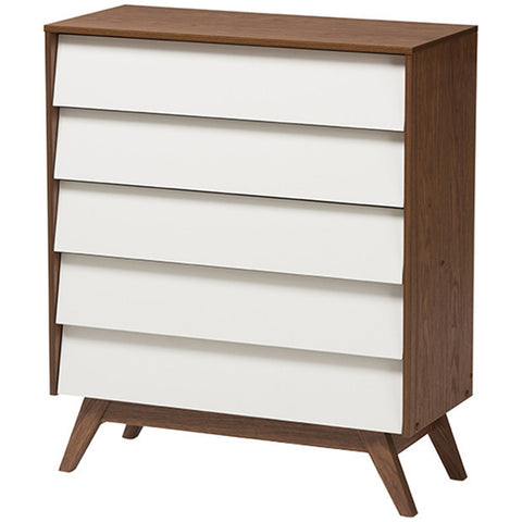 Hildon Mid-Century Modern 5-Drawer White and Walnut Storage Chest